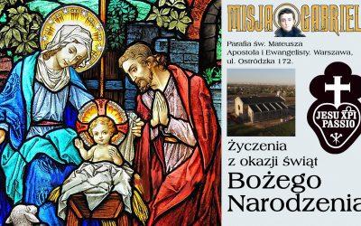 Życzenia Ojca Przemysława Śliwińskiego CP dla Przyjaciół Misji Gabriela oraz parafian.